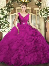 Fuchsia V-neck Neckline Beading and Ruching Quince Ball Gowns Sleeveless Backless