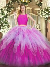 Simple Scoop Sleeveless Ball Gown Prom Dress Floor Length Lace and Ruffles Fuchsia Organza