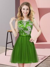 Green A-line Scoop Sleeveless Tulle Mini Length Side Zipper Lace Bridesmaids Dress