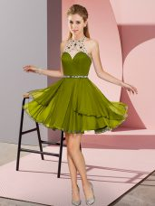 Olive Green Sleeveless Mini Length Beading Zipper