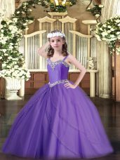 Ball Gowns Sleeveless Lavender Pageant Dress Womens Sweep Train Lace Up