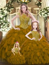 Beading and Ruffles 15 Quinceanera Dress Brown Lace Up Sleeveless Floor Length