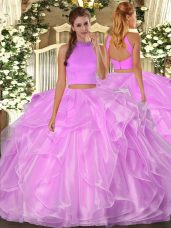 Glamorous Lilac Halter Top Neckline Beading and Ruffles Quinceanera Gown Sleeveless Backless