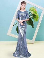 Mermaid Homecoming Dress Blue Scoop Sequined Half Sleeves Floor Length Zipper