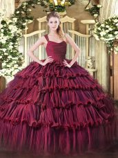 Trendy Burgundy Sleeveless Organza Zipper Quince Ball Gowns for Sweet 16 and Quinceanera