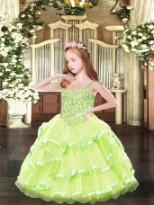 High End Appliques Little Girls Pageant Dress Wholesale Yellow Green Lace Up Sleeveless Floor Length