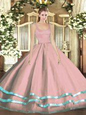 Dramatic Floor Length Pink Quince Ball Gowns Tulle Sleeveless Ruffled Layers