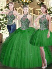 Most Popular Floor Length Dark Green Sweet 16 Dress High-neck Sleeveless Lace Up