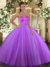 Customized Eggplant Purple Lace Up Ball Gown Prom Dress Beading Sleeveless Floor Length