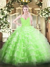 High Class Floor Length Quince Ball Gowns Spaghetti Straps Sleeveless Zipper
