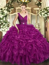 Top Selling Fuchsia Ball Gowns V-neck Sleeveless Organza Floor Length Backless Beading and Ruffles 15 Quinceanera Dress