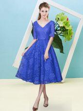 Royal Blue V-neck Neckline Bowknot Bridesmaids Dress Half Sleeves Lace Up