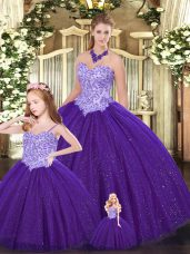 Dramatic Floor Length Ball Gowns Sleeveless Purple Quinceanera Dress Lace Up