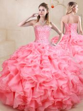 Exceptional Floor Length Lace Up 15th Birthday Dress Watermelon Red for Sweet 16 and Quinceanera with Beading and Ruffles