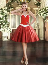 Super Appliques Prom Evening Gown Wine Red Lace Up Sleeveless Mini Length