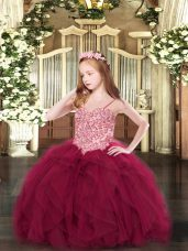 New Arrival Spaghetti Straps Sleeveless Pageant Gowns For Girls Floor Length Appliques and Ruffles Wine Red Tulle