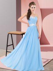 Pretty Aqua Blue Sleeveless Appliques Floor Length Prom Dress