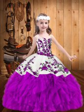 Purple Sleeveless Floor Length Beading and Embroidery Lace Up Little Girls Pageant Gowns