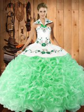 Graceful Halter Top Sleeveless Quinceanera Gowns Floor Length Embroidery Fabric With Rolling Flowers