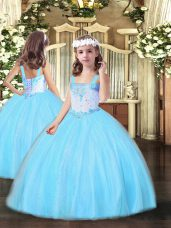 Aqua Blue Lace Up Custom Made Pageant Dress Beading Sleeveless Floor Length