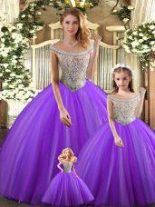 Designer Purple Tulle Lace Up Bateau Sleeveless Floor Length Quinceanera Dresses Beading