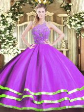 Fashion Tulle Sleeveless Floor Length Vestidos de Quinceanera and Beading