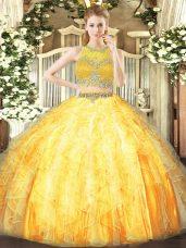 Attractive Tulle Scoop Sleeveless Zipper Beading and Ruffles Sweet 16 Dress in Orange