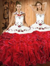 Dynamic White And Red Lace Up Quinceanera Dress Embroidery and Ruffles Sleeveless Floor Length
