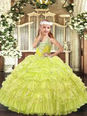 Beading and Ruffled Layers and Pick Ups Winning Pageant Gowns Yellow Green Lace Up Sleeveless Floor Length