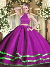 Halter Top Sleeveless Backless Quinceanera Gown Fuchsia Tulle