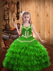 Stunning Floor Length Child Pageant Dress Straps Sleeveless Lace Up