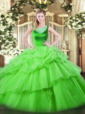 Ball Gowns Organza Scoop Sleeveless Beading and Pick Ups Floor Length Side Zipper 15 Quinceanera Dress