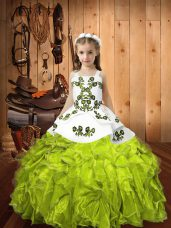 Nice Yellow Green Ball Gowns Straps Sleeveless Organza Floor Length Lace Up Embroidery and Ruffles Little Girl Pageant Dress