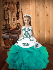 Aqua Blue Sleeveless Floor Length Embroidery and Ruffles Lace Up Pageant Gowns