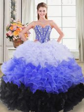 Beauteous Floor Length Multi-color Sweet 16 Dress Sweetheart Sleeveless Lace Up
