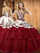 Sweep Train Ball Gowns 15 Quinceanera Dress Wine Red Sweetheart Organza Sleeveless Lace Up