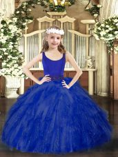 Scoop Sleeveless Little Girls Pageant Gowns Floor Length Beading and Ruffles Royal Blue Tulle