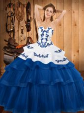 Blue Strapless Lace Up Embroidery and Ruffled Layers Sweet 16 Quinceanera Dress Sweep Train Sleeveless