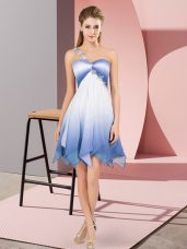 Cheap Asymmetrical Multi-color Prom Party Dress One Shoulder Sleeveless Lace Up