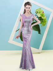 Wonderful Lilac Cap Sleeves Sequined Zipper for Prom and Party