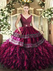 High Class Sleeveless Organza Floor Length Backless Sweet 16 Dresses in Burgundy with Beading and Ruffles