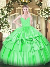 Gorgeous Floor Length Zipper Ball Gown Prom Dress Green for Military Ball and Sweet 16 and Quinceanera with Ruffled Layers