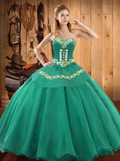 Turquoise Sleeveless Embroidery Floor Length 15 Quinceanera Dress