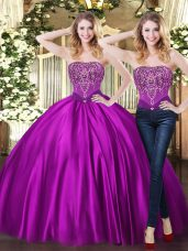 Ball Gowns Sweet 16 Quinceanera Dress Purple Sweetheart Tulle Sleeveless Floor Length Lace Up