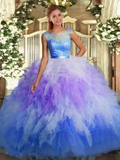 Multi-color Sweet 16 Dresses Sweet 16 and Quinceanera with Beading and Ruffles Scoop Sleeveless Backless