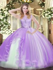 Lavender Sleeveless Organza Backless Quince Ball Gowns for Military Ball and Sweet 16 and Quinceanera