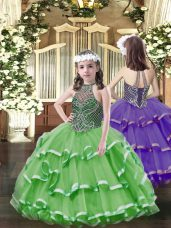 Sleeveless Lace Up Floor Length Beading and Ruffled Layers Pageant Gowns For Girls