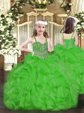 Green Ball Gowns Straps Sleeveless Organza Floor Length Lace Up Beading and Ruffles Pageant Gowns For Girls