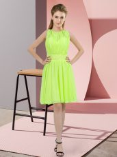 Sumptuous Yellow Green Empire Scoop Sleeveless Chiffon Knee Length Zipper Sequins Bridesmaid Dress