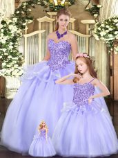 Deluxe Ball Gowns Sweet 16 Dresses Lavender Sweetheart Tulle Sleeveless Floor Length Lace Up